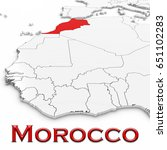 3d map of morocco with country... | Shutterstock . vector #651102283