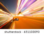 view from side of car moving in ... | Shutterstock . vector #651103093