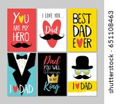 set of happy fathers day... | Shutterstock .eps vector #651108463