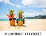 couple of attractive pineapples ... | Shutterstock . vector #651146557