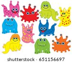 vector set of colorful cute... | Shutterstock .eps vector #651156697