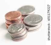 a group of stacked pennies ... | Shutterstock . vector #651179227