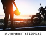 Silhouette Of A Biker  On The...