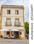 Small photo of EVORA, PORTUGAL - JUNE 2, 2016: Street view of the Historic Centre of Evora, Portugal. The Historic Centre of Evora is a UNESCO World Heritage Site.