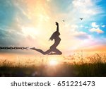 freedom concept  silhouette of... | Shutterstock . vector #651221473