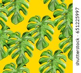 tropical hawaii leaves palm... | Shutterstock . vector #651225997