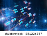 block chain network and... | Shutterstock . vector #651226957