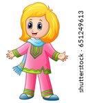 happy muslim girl cartoon... | Shutterstock . vector #651249613
