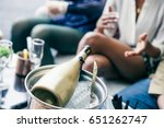 view of the golden champagne... | Shutterstock . vector #651262747