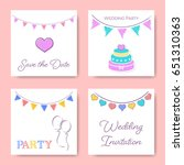 vintage wedding invitation card ... | Shutterstock .eps vector #651310363