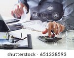 businessman hand working with... | Shutterstock . vector #651338593