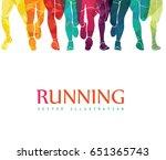 running marathon  people run ... | Shutterstock .eps vector #651365743