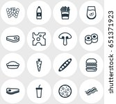 vector illustration of 16 food... | Shutterstock .eps vector #651371923