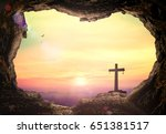 empty tomb with cross symbol... | Shutterstock . vector #651381517
