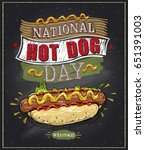 national hot dog day chalkboard ... | Shutterstock .eps vector #651391003