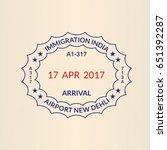 passport stamp. visa or... | Shutterstock . vector #651392287