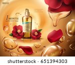 camellia hair oil contained in... | Shutterstock .eps vector #651394303