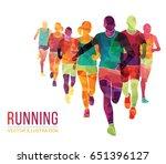 running marathon  people run ... | Shutterstock .eps vector #651396127