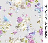 colorful flowers background...   Shutterstock .eps vector #651397033