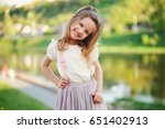 portrait of cute little girl in ... | Shutterstock . vector #651402913