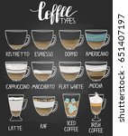 different types of coffee on...   Shutterstock .eps vector #651407197