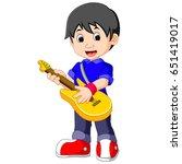 little boy cartoon playing... | Shutterstock . vector #651419017