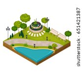 isometric fragment of park... | Shutterstock .eps vector #651421387