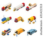 truck isometric set with images ...