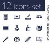set of 12 studies icons set... | Shutterstock .eps vector #651422437