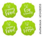 set of food badges. vegan ... | Shutterstock .eps vector #651428353