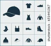 clothes icons set. collection... | Shutterstock .eps vector #651441367