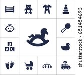 set of 13 child icons set... | Shutterstock .eps vector #651454693