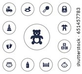 set of 13 baby icons set...   Shutterstock .eps vector #651457783