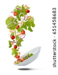 falling plate with fresh salad... | Shutterstock . vector #651458683