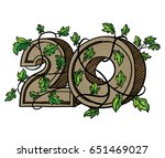 decorative numeral  decorated... | Shutterstock . vector #651469027