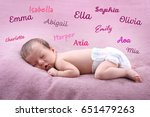 Small photo of Baby names concept. Cute little girl sleeping on plaid