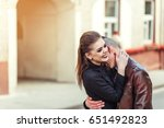 young stylish couple hugging... | Shutterstock . vector #651492823