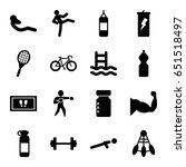 fitness icons set. set of 16... | Shutterstock .eps vector #651518497
