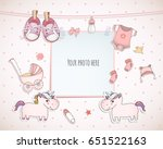 baby girl shower card. arrival... | Shutterstock .eps vector #651522163