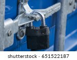Locked Clasp And Padlock On A...