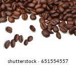 brown roasted coffee beans... | Shutterstock . vector #651554557