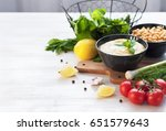 bowl with hummus  chickpeas ...   Shutterstock . vector #651579643