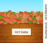 wooden box with almond nuts.... | Shutterstock .eps vector #651586693