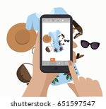hand holding smartphone and... | Shutterstock .eps vector #651597547