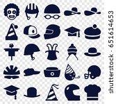 hat icons set. set of 25 hat... | Shutterstock .eps vector #651614653