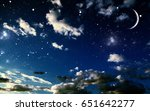 night sky with stars and moon | Shutterstock . vector #651642277