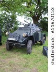 Small photo of Waterlooville, UK - May 28, 2017: World War 2 German army armoured car on display at a military vehicle show.