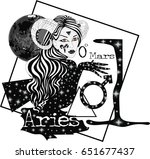zodiac sign aries    vector... | Shutterstock .eps vector #651677437