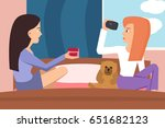 girls shooting home video at...   Shutterstock .eps vector #651682123