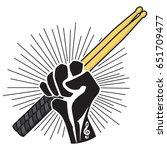 drum sticks in hand  fist ... | Shutterstock .eps vector #651709477